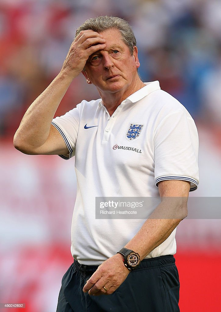 England Manager <a gi-track='captionPersonalityLinkClicked' href=/galleries/search?phrase=Roy+Hodgson&family=editorial&specificpeople=881703 ng-click='$event.stopPropagation()'>Roy Hodgson</a> walks off at the end of the match during the International Friendly match between England and Honduras at the Sun Life Stadium on June 7, 2014 in Miami Gardens, Florida.