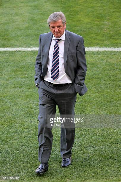 England manager Roy Hodgson walks off the field after a 00 draw during the 2014 FIFA World Cup Brazil Group D match between Costa Rica and England at...