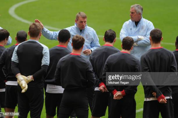 England manager Stuart Pearce talks to the squad during the England Training and Press Conference at Wembley Stadium on February 28 2012 in London...