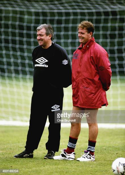 England manager Terry Venables shares a joke with player Paul Gascoigne during an England training session at Bisham Abbey on October 11 1994 in...
