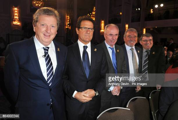 England managers past and present Roy Hodgson Fabio Capello Sven Goran Eriksson Terry Venables and Graham Taylor arrive for the FA Anniversary...