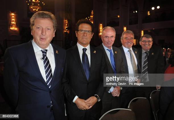 England managers past and present Roy Hodsgon Fabio Capello Sven Goran Eriksson Terry Venables and Graham Taylor arrive for the FA Anniversary...