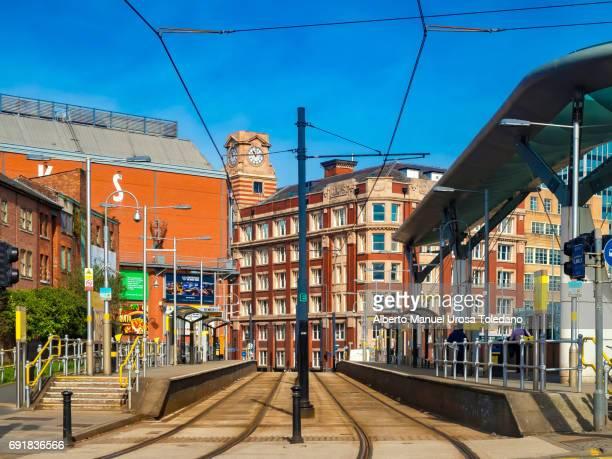 England, Manchester, Shudehill tram station, platform