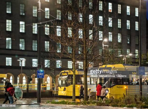 England, Manchester, St Peters Sq, tram platform