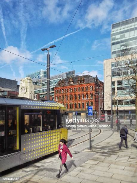 England, Manchester, St Peters Square, tram
