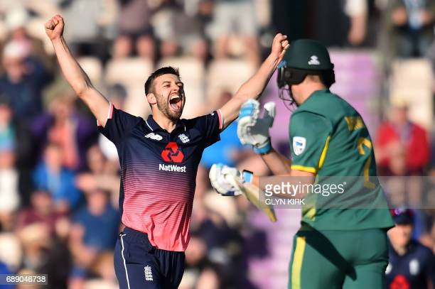 England Mark Wood celebrates as England win by two runs at the second OneDay International between England and South Africa of the South Africa in...