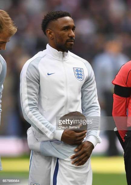 England mascot Bradley Lowery hugs Jermain Defoe of England prior to the FIFA 2018 World Cup Qualifier between England and Lithuania at Wembley...