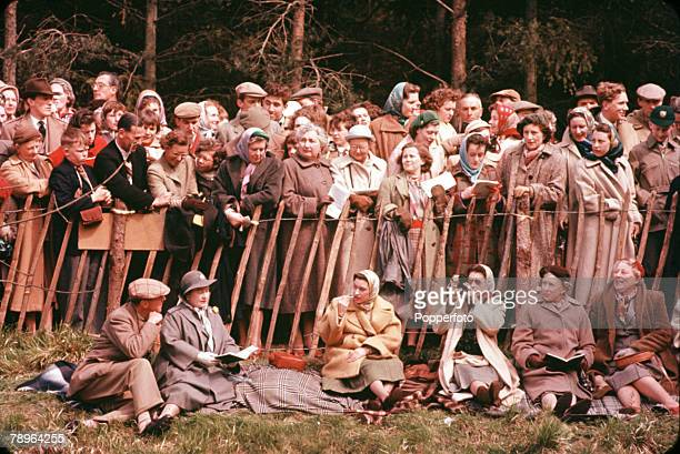 England Members of the Royal Family are pictured at the Badminton Horse Trials LR seated The Queen Mother Princess Margaret and Queen Elizabeth