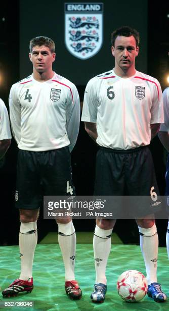 England men's captain John Terry and Steven Gerrard model the new national kit at the Royal Exchange Theatre Manchester