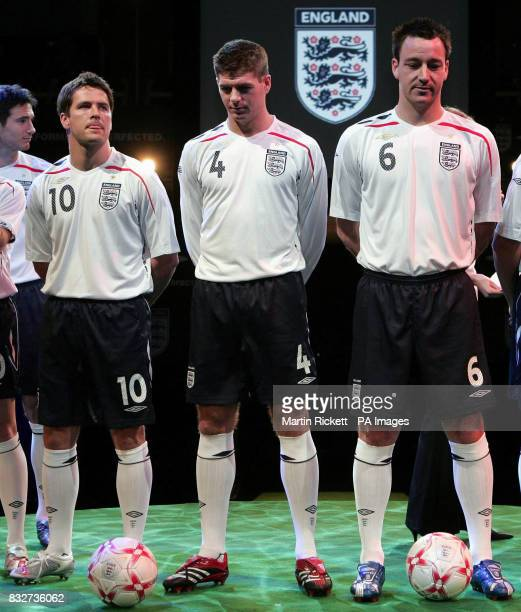 England men's captain John Terry Steven Gerrard and Michael Owen model the new national kit at the Royal Exchange Theatre Manchester