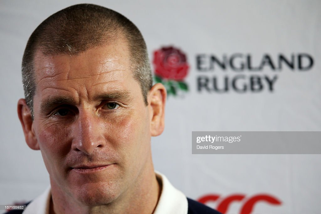 England nhead coach <a gi-track='captionPersonalityLinkClicked' href=/galleries/search?phrase=Stuart+Lancaster&family=editorial&specificpeople=2263180 ng-click='$event.stopPropagation()'>Stuart Lancaster</a> speaks to the media following the England training session at Pennyhill Park on November 29, 2012 in Bagshot, England.