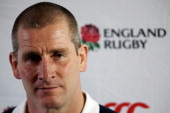 England nhead coach Stuart Lancaster speaks to the media following the England training session at Pennyhill Park on November 29 2012 in Bagshot...