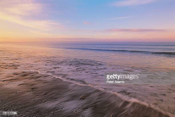 England, North Devon, Croyde, beach at sunrise
