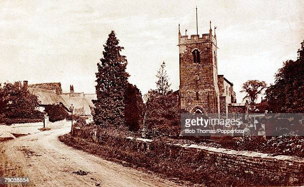 England Northamptonshire Postcards A picture of Ruston village showing the church near Kettering Circa 1910