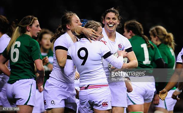 England number 8 Sarah Hunter celebrates with scrum half Natasha Hunt after scoring the first England try during the Women's Six Nations match...