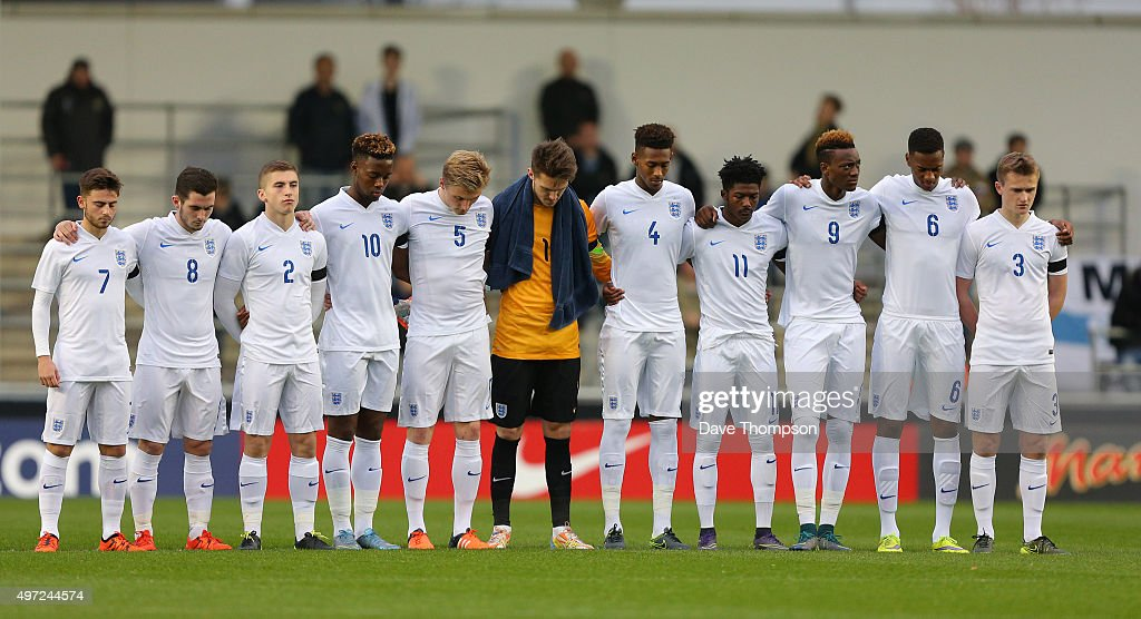 England observe a minutes silence in memory of those who died in the Paris terrorist attack prior to the U19 International friendly match between England and Japan at Manchester City Academy Stadium on November 15, 2015 in Manchester, England.