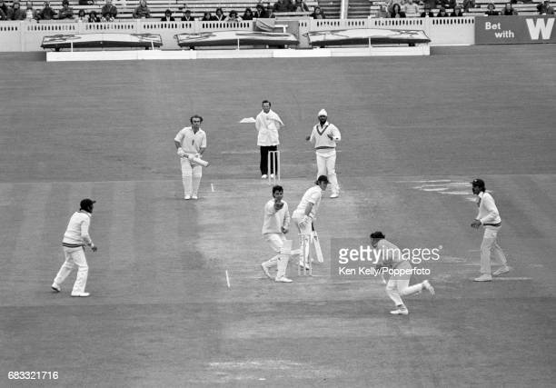 England opener Dennis Amiss is out for 47 caught by Sunil Gavaskar of India off the bowling of Bishan Bedi during the 1st Test match between England...