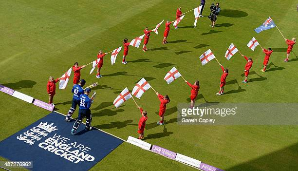 England opening batsmen Alex Hales and Jason Roy of England walk out to bat ahead of the 3rd Royal London OneDay International match between England...