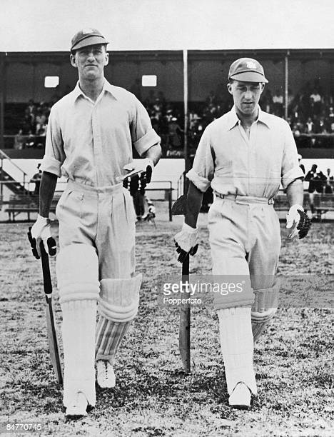 England opening batsmen Len Hutton and Bill Edrich at the first match of the MCC tour of South Africa at the Strand Cape Province 16th November 1938...