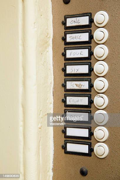 UK, England, Oxford, Door bells with sign, close up