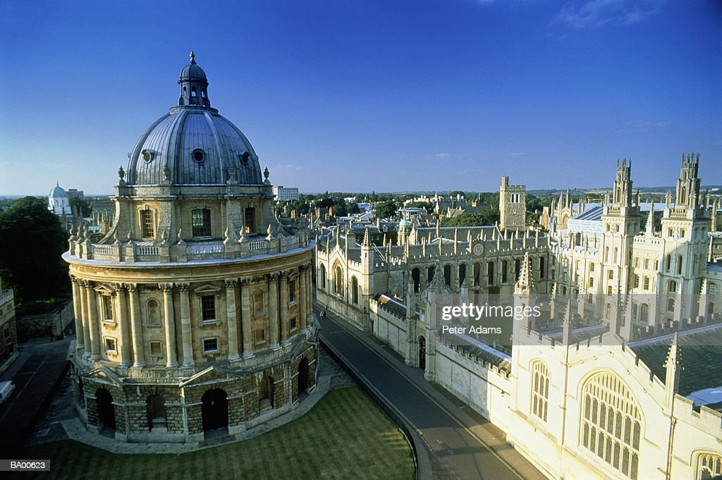 UK, England, Oxfordshire, Radcliffe Camera, aerial view : Stock Photo