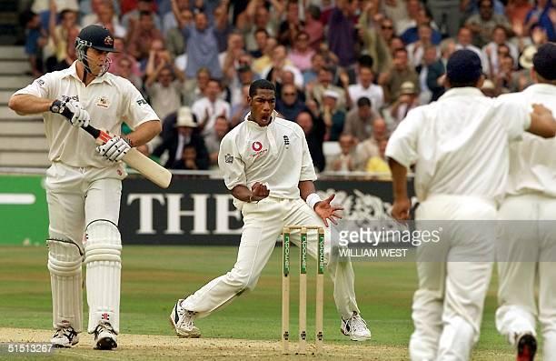 England paceman Alex Tudor celebrates having Australian batsman Matthew Hayden out LBW on the first day of the third Test Match at Trent Bridge in...