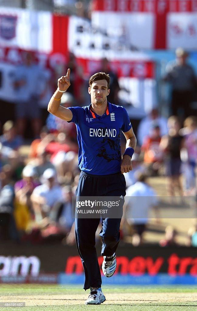 England paceman Steve Finn celebrates after dismissing Scotland batsman Matt Cross during their 2015 Cricket World Cup Group A match in Christchurch...