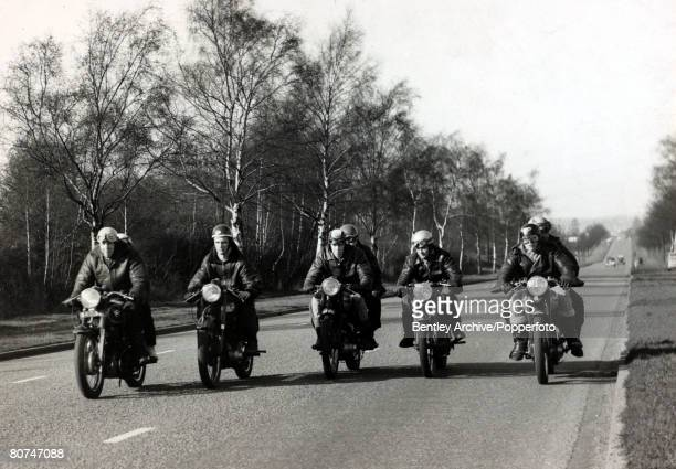 10th April 1961 A group of 'Rockers' riding 5 abreast along the road 'Rockers' were motor cycle enthusiasts wearing leather and with no real regard...