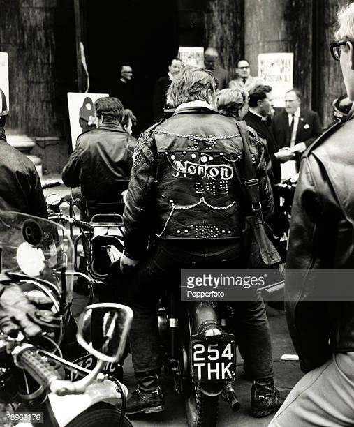 23rd May 1964 A group of 'Rockers' in the forecourt of StMartin in the Field Church London who have volunteered to spend their time billsticking in...