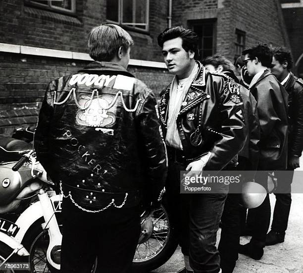 30th May 1964 A group of 'Rockers' at Stratford East London 'Rockers' were motor cycle enthusiasts wearing leather and with no real regard for their...