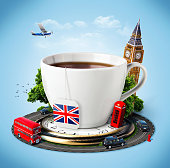 Traditional afternoon tea and famous symbols of England. Tourism