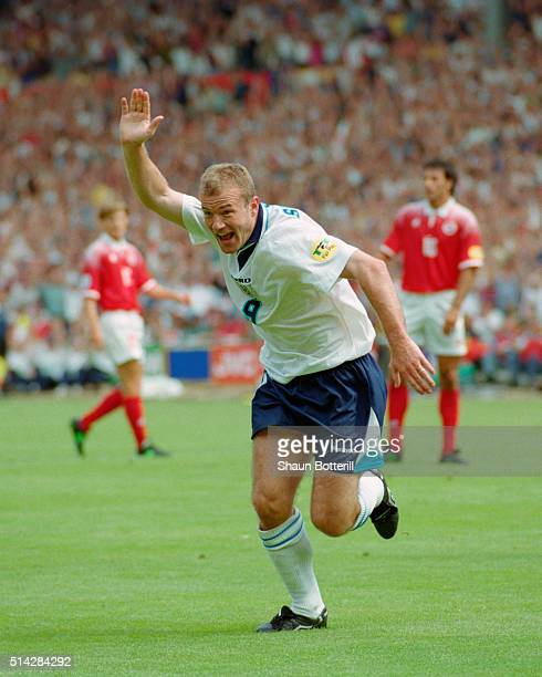 England player Alan Shearer celebrates after scoring in the opening UEFA 1996 European Championships match between England and Switzerland at Wembley...