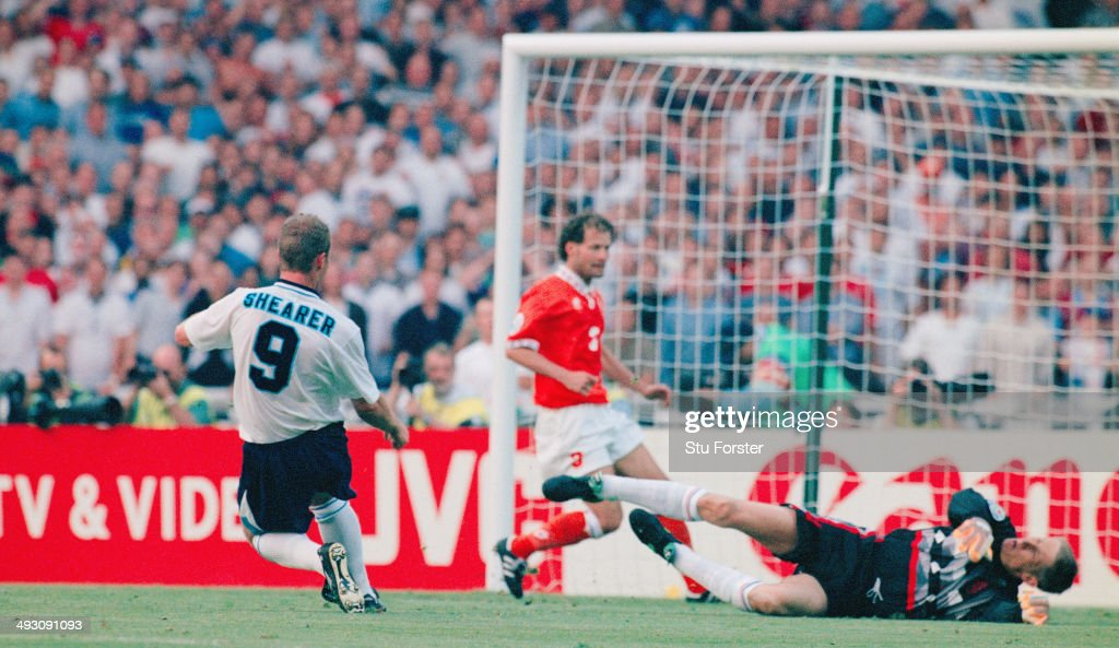 England player Alan Shearer scores the third goal during the European Championship Finals group match between England and Holland at Wembley on June...