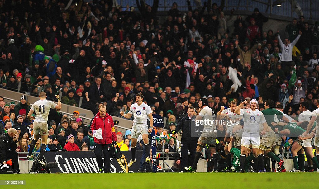 England player Ben Youngs (c) jumps for joy on the final whistle after the RBS Six Nations match between Ireland and England at Aviva Stadium on February 10, 2013 in Dublin, Ireland.