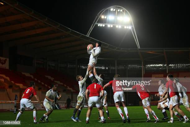 England player Charlie Matthews wins a lineout ball during the Under 20 International between Wales U20 and England U20 at Parc y Scarlets on...