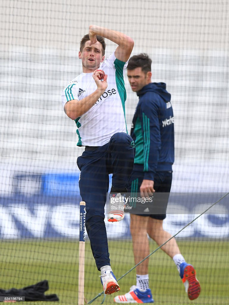 England player <a gi-track='captionPersonalityLinkClicked' href=/galleries/search?phrase=Chris+Woakes&family=editorial&specificpeople=4444585 ng-click='$event.stopPropagation()'>Chris Woakes</a> in action as James Anderson looks on during England Nets session ahead of the 2nd Investec Test match between England and Sri Lanka at Emirates Durham ICG on May 25, 2016 in Chester-le-Street, United Kingdom.