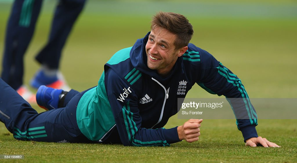 England player <a gi-track='captionPersonalityLinkClicked' href=/galleries/search?phrase=Chris+Woakes&family=editorial&specificpeople=4444585 ng-click='$event.stopPropagation()'>Chris Woakes</a> raises a smile during England Nets session ahead of the 2nd Investec Test match between England and Sri Lanka at Emirates Durham ICG on May 25, 2016 in Chester-le-Street, United Kingdom.