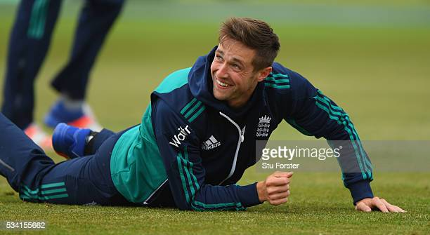 England player Chris Woakes raises a smile during England Nets session ahead of the 2nd Investec Test match between England and Sri Lanka at Emirates...