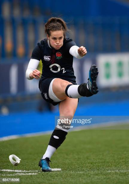 England player Emily Scarratt in action during the Women's Six Nations match between Wales and England at Cardiff Arms Park on February 11 2017 in...