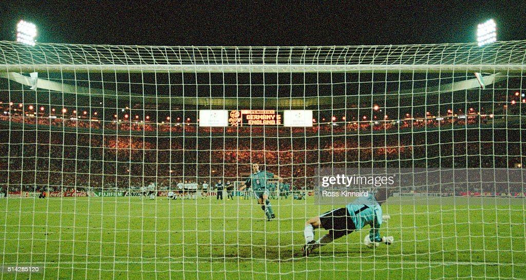 England player Gareth Southgate has his penalty saved by Germany goalkeeper Andreas Köpke during the penalty shoot out during the 1996 UEFA European Championships semi final match between England and Germany at Wembley Stadium on June 26, 1996 in London, England.