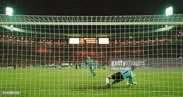FEBRUARY 03 England player Gareth Southgate has his penalty saved by Germany goalkeeper Andreas Köpke during the penalty shoot out during the 1996...