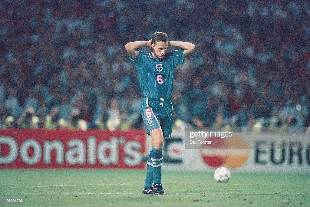 England player Gareth Southgate reacts after missing his penalty during the penalty shoot out, during the European Championship Finals semi final match between England and Germany at Wembley, on June 26, 1996 in London, England. Germany won the match on penalties.