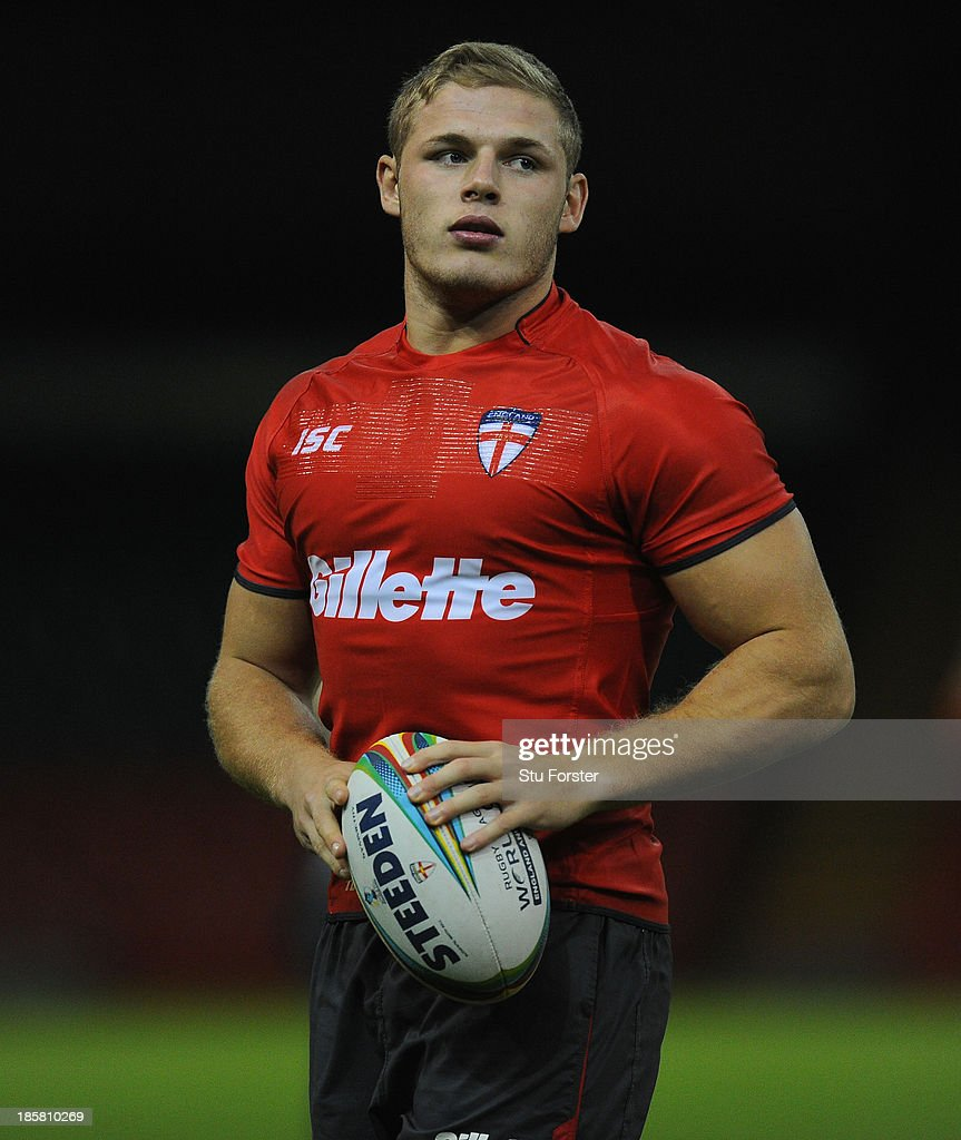 England player George Burgess in action during the England captains run, ahead of tomorrows opening match of the 2013 Rugby League World Cup against Australia at Millennium Stadium on October 25, 2013 in Cardiff, Wales.