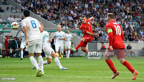England player Jack Wilshere scores the second England goal during the UEFA EURO 2016 Qualifier between Slovenia and England on at the Stozice Arena...