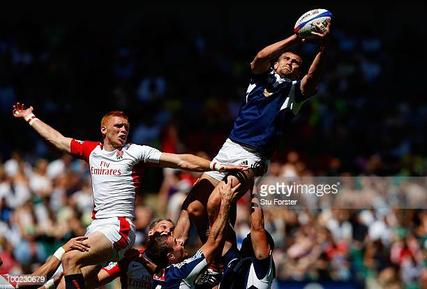 England player James Rodwell is beaten in a line out by Nikolay Shugay of Russia during the Pool D game between England and Russia during day one of...