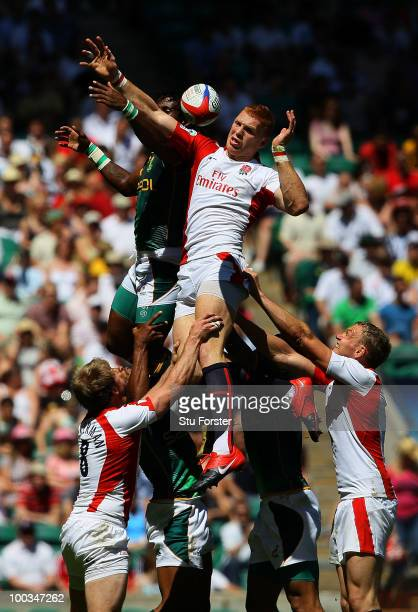 England player James Rodwell wins a lineout during the game between England and South Africa during day two of the IRB London Sevens at Twickenham...