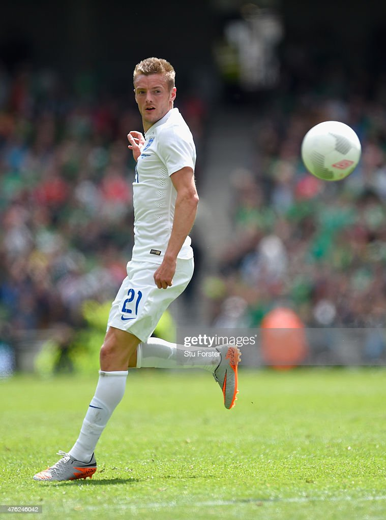 England player Jamie Vardy in action on his debut during the International friendly match between Ireland and England at Aviva Stadium on June 7 2015...