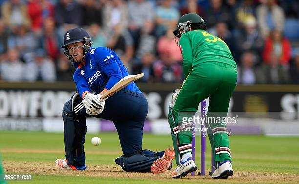 England player Jason Roy hits out watched by wicketkeeper Sarfraz Ahmed during the 5th One Day International between England and Pakistan at Swalec...