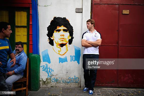 England player Joe Launchbury pictured in the Caminito area of La Boca on June 13 2013 in Buenos Aires Argentina