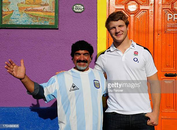 England player Joe Launchbury pictured with a Maradona lookalike in the Caminito area of La Boca on June 13 2013 in Buenos Aires Argentina
